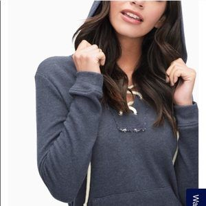 Splendid x Revolve Blue Active Lace Up Hoodie